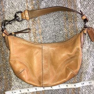 Mini coach leather bag purse tab hobo